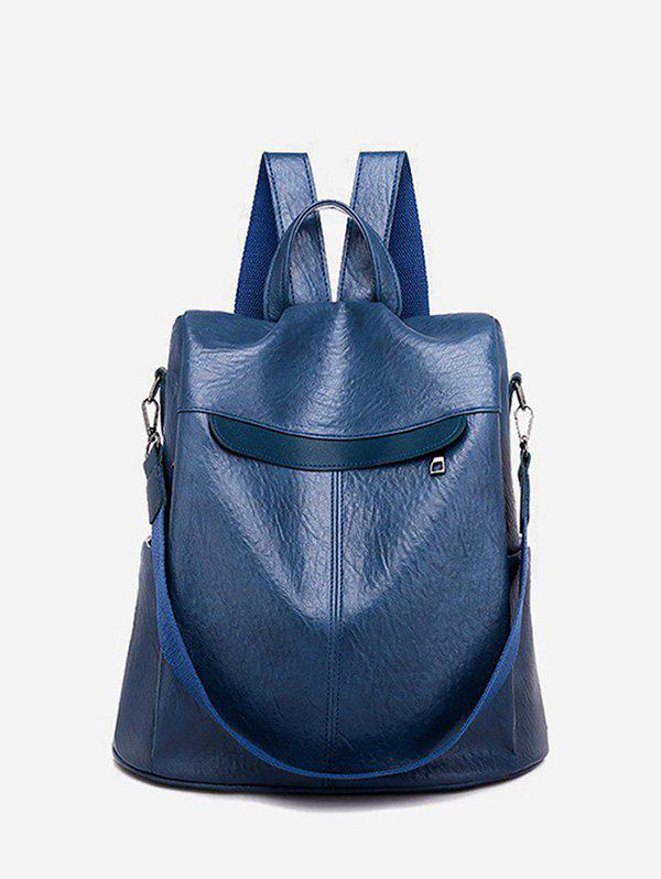 Retro Solid PU Multi-functional Backpack - DEEP BLUE
