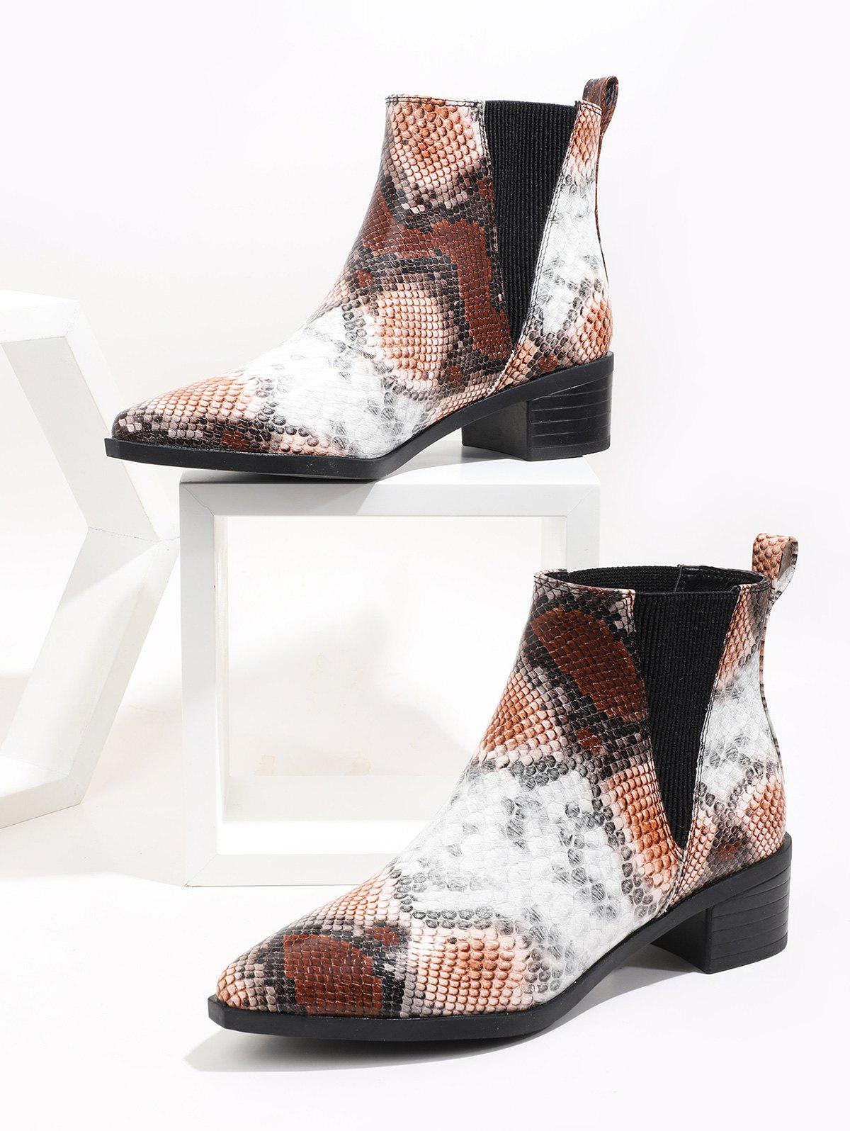 Pointed Toe Snakeskin Print Chelsea Boots - multicolor A EU 41