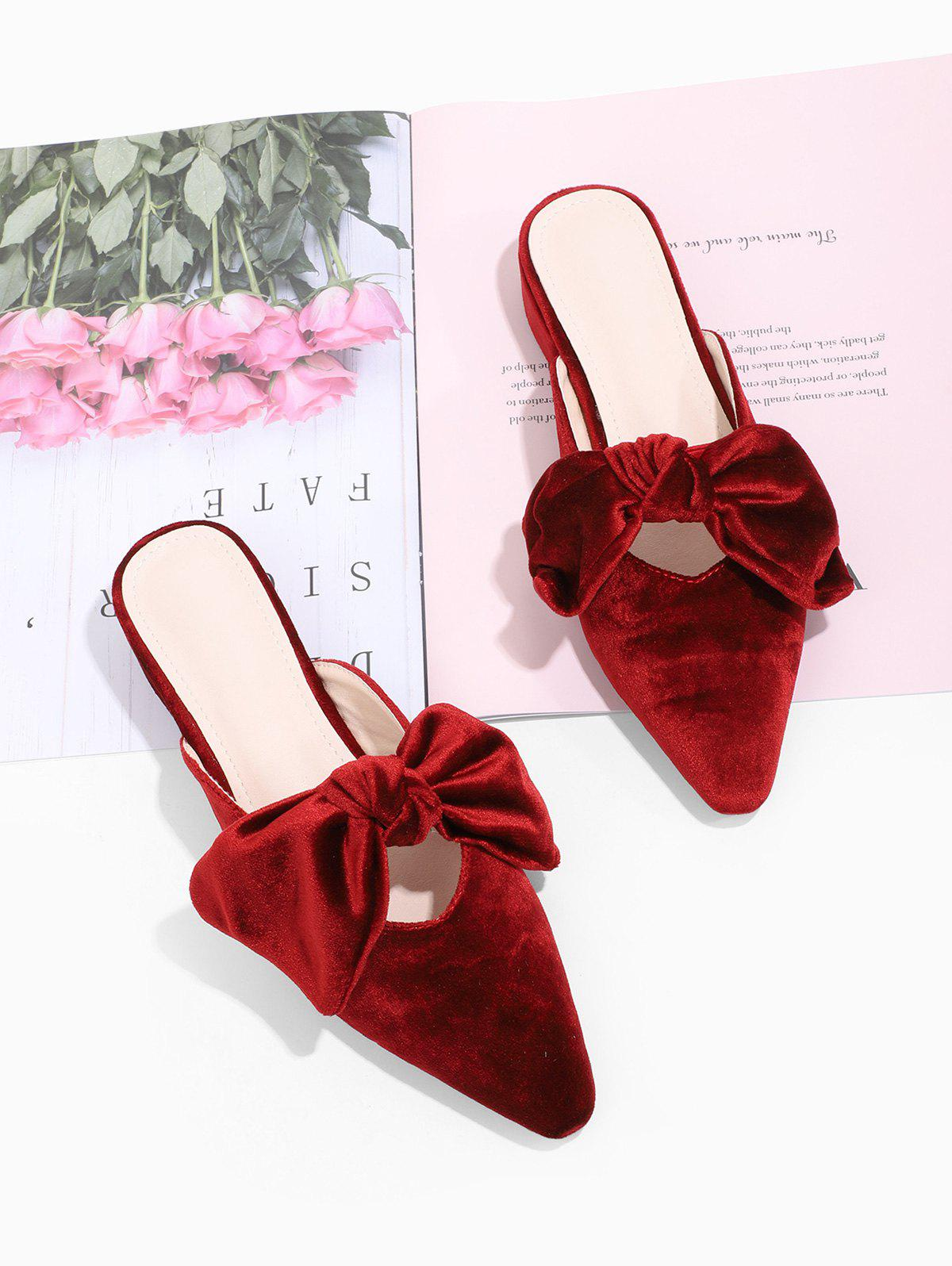 Pointed Toe Bowknot Velour Slide Shoes - RED WINE EU 38