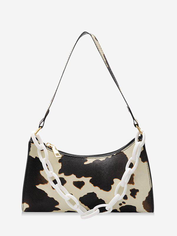 Cow Printed Chain Street Shoulder Bag - LIGHT YELLOW