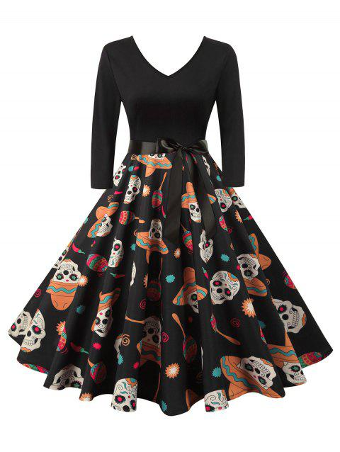 Halloween Skull V Neck Belted Dress