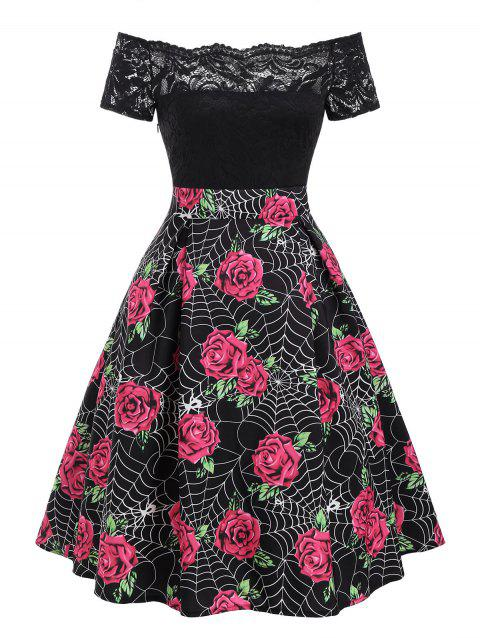Halloween Spider Web Rose Print Lace Insert Dress