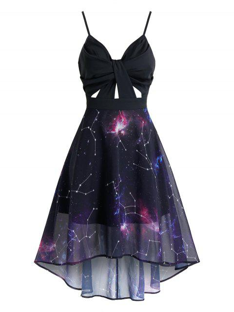 Ruched Starry Print High Low Midi Cami Dress