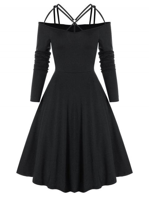 Gothic Strappy Cold Shoulder Flare Dress