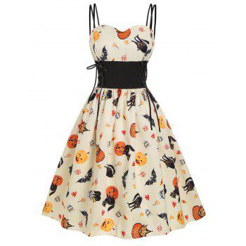 Halloween Pumpkin Bat Skull Print Lace Up Dress