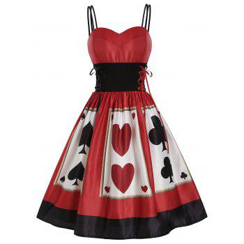 Playing Card Print Lace Up Dual Straps Dress