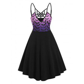 Halloween Cobweb Ombre Bats Print Cami Dress