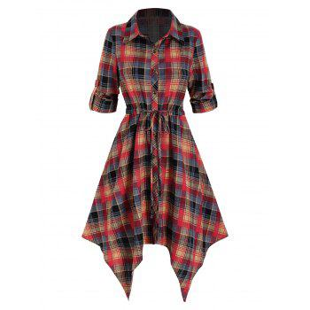 Plaid Print Drawstring Irregular Shirt Dress