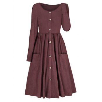 Pleated Pocket Fit And Flare Dress