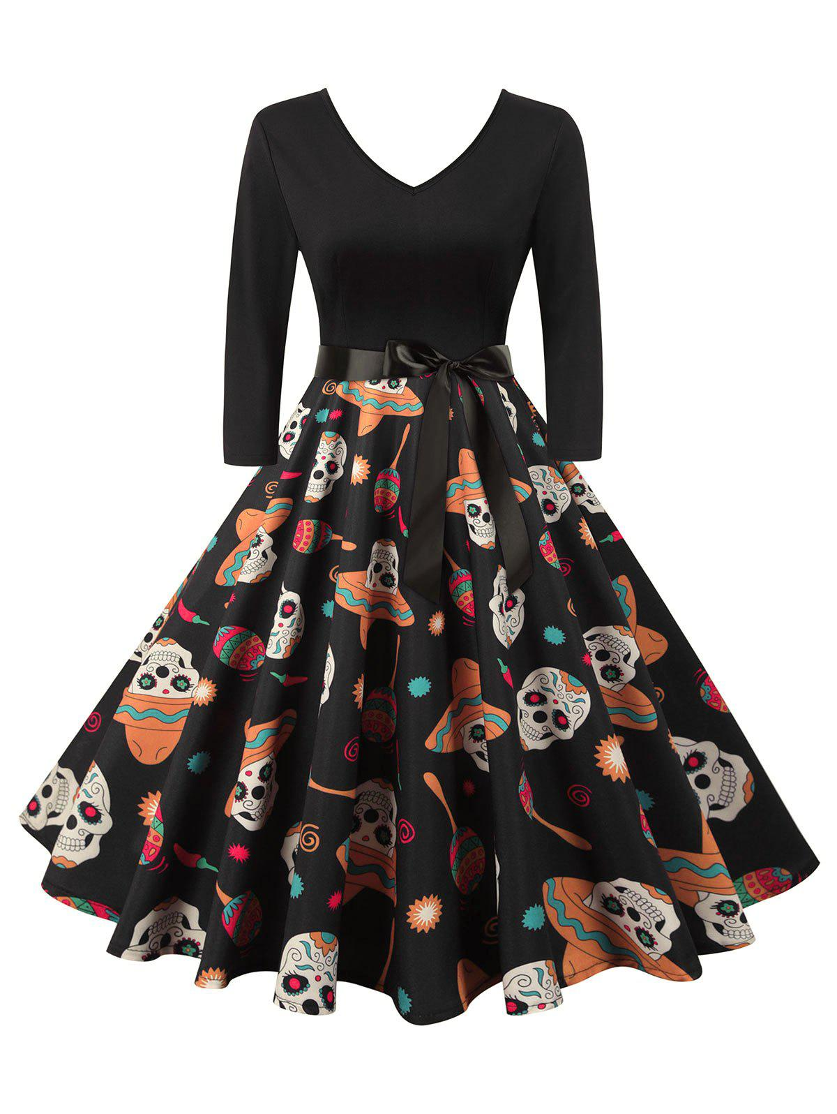 Halloween Skull V Neck Belted Dress - BLACK L