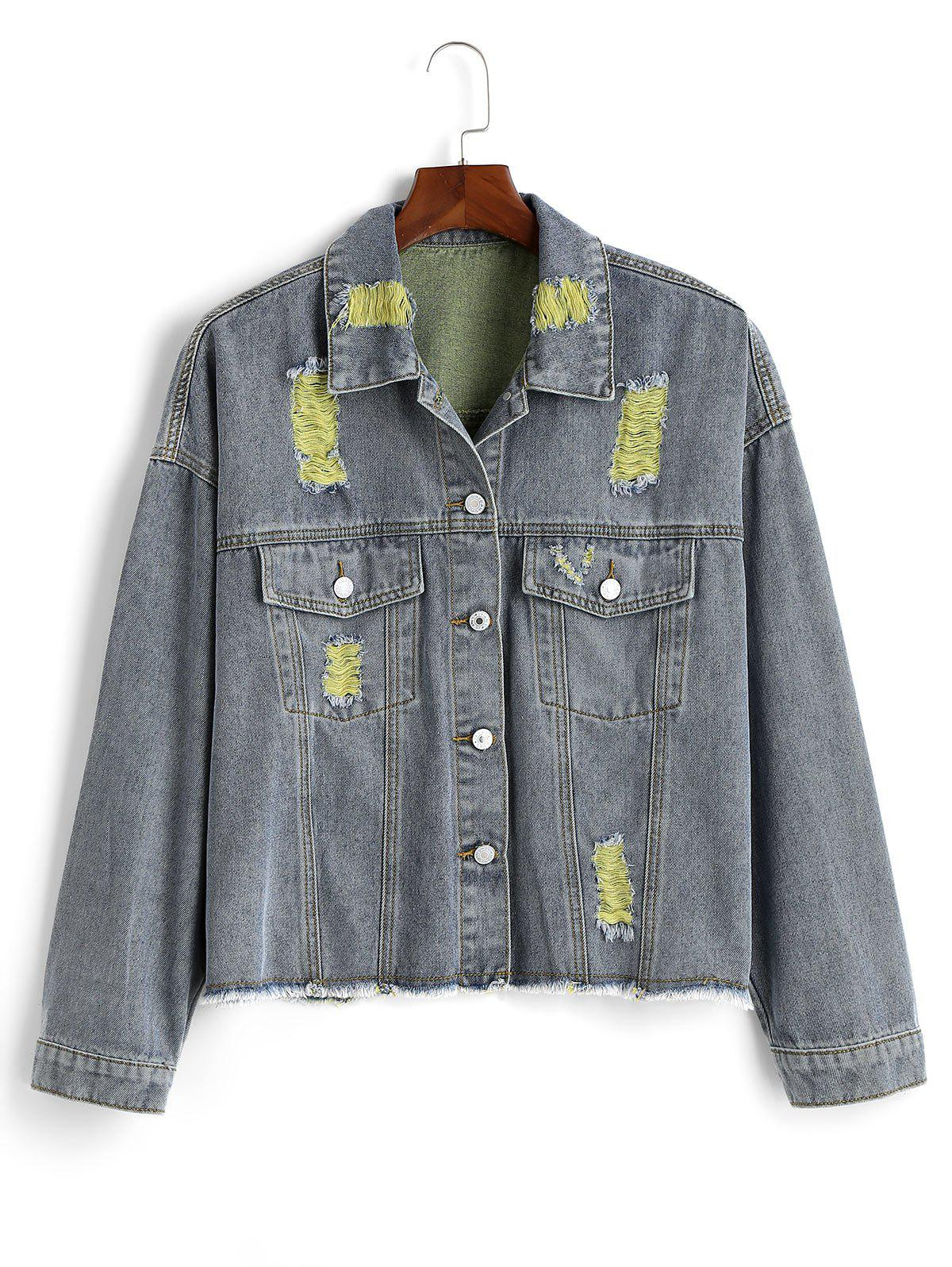Ripped Frayed Hem Plus Size Denim Jacket - YELLOW 2X