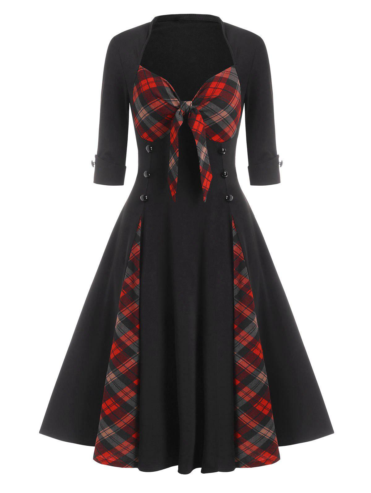 Plaid Print Mock Button Bowknot Detail Vintage Dress - BLACK M