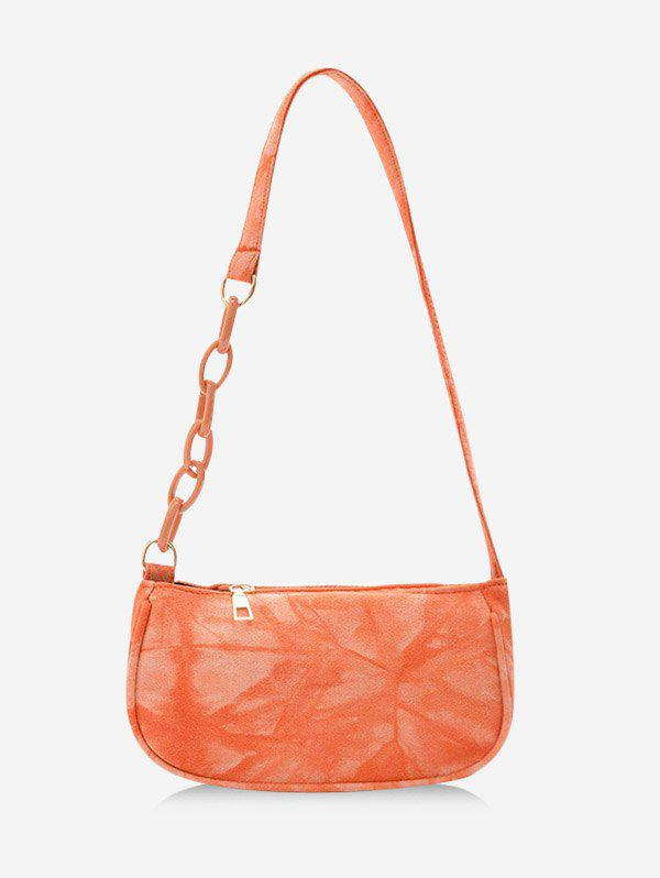 Retro Tie Dye Chain Shoulder Bag - DARK ORANGE