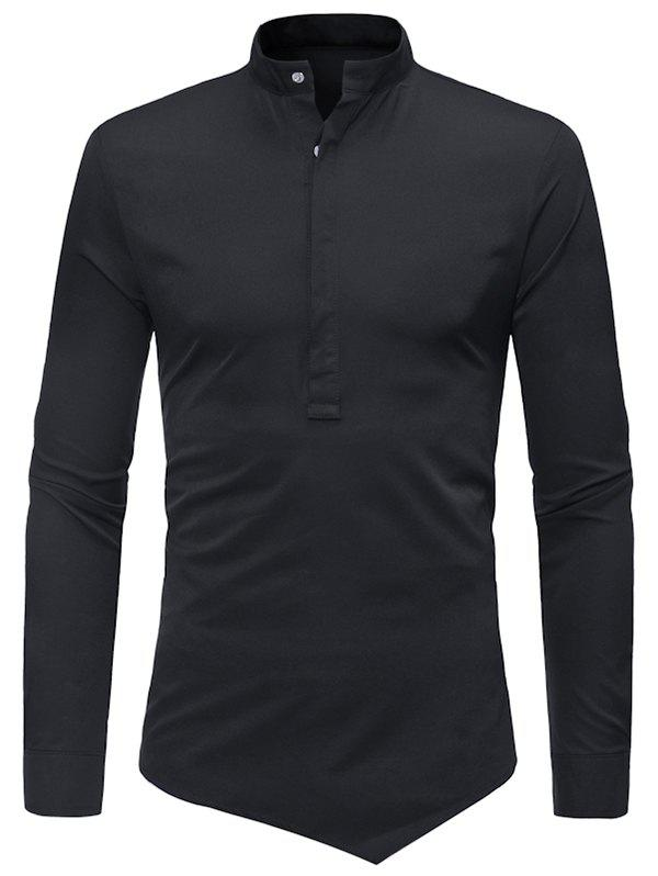 Half Button Asymmetrical Plain Shirt - BLACK L