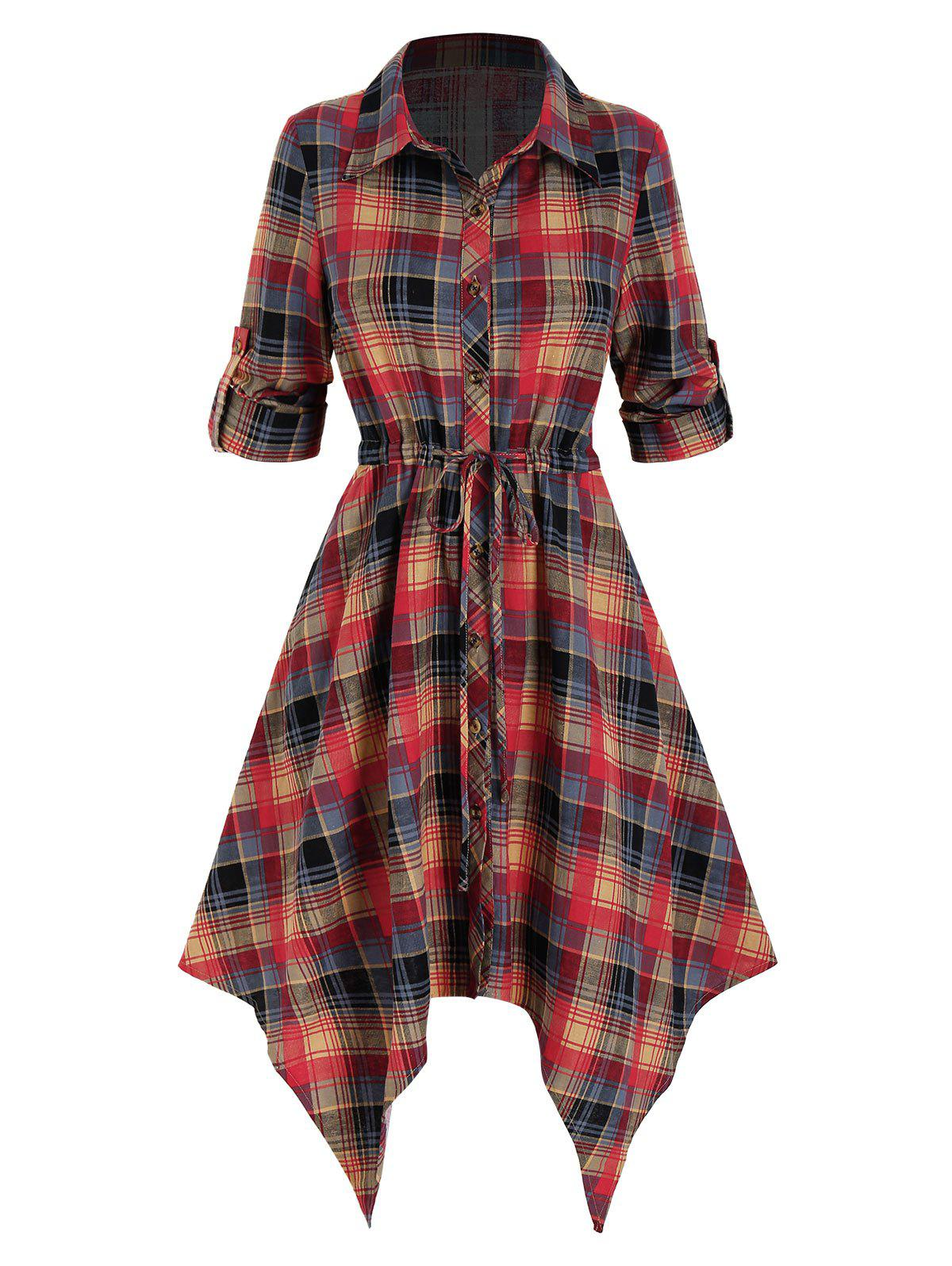Plaid Print Drawstring Irregular Shirt Dress - multicolor A L