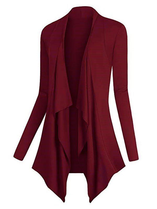 Plus Size Asymmetric Draped Front Cardigan - DEEP RED 5XL