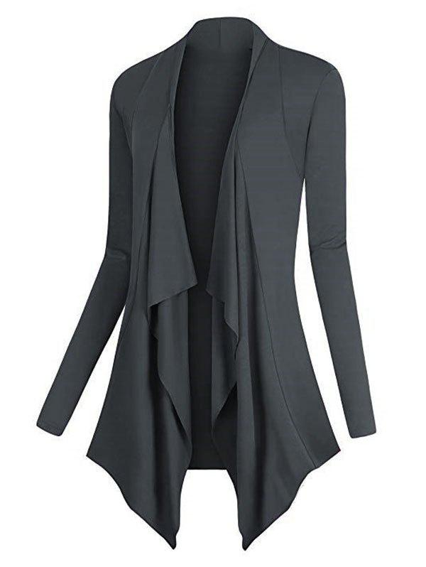 Plus Size Asymmetric Draped Front Cardigan - LIGHT GRAY 5XL