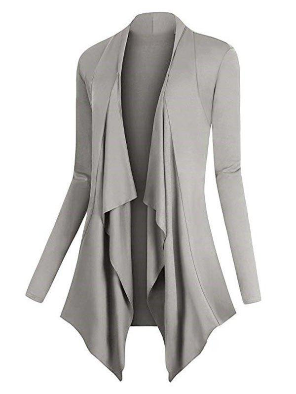Plus Size Asymmetric Draped Front Cardigan - DARK GRAY 5XL