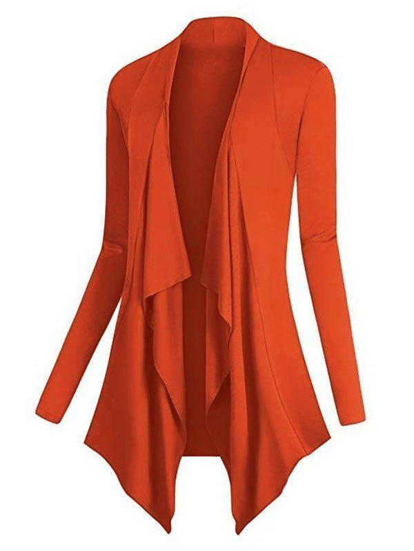 Plus Size Asymmetric Draped Front Cardigan - ORANGE 2XL