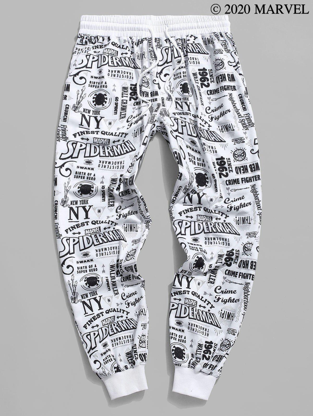 Marvel Spider-Man Graphic Allover Print Jogger Sweatpants - WHITE 2XL