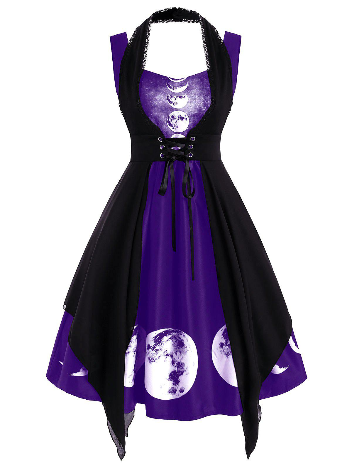 Sweetheart Lunar Eclipse Print Dress with Lace Insert Corset - DULL PURPLE S
