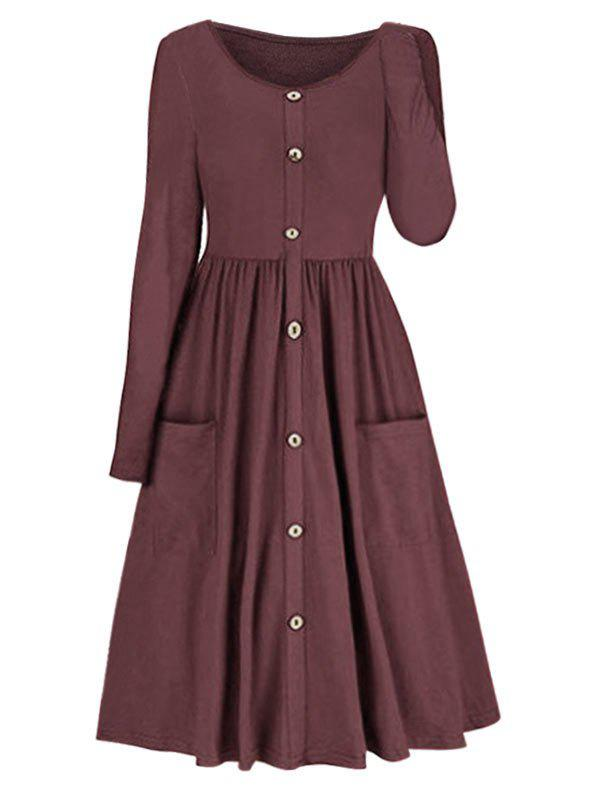Pleated Pocket Fit And Flare Dress - RED WINE M
