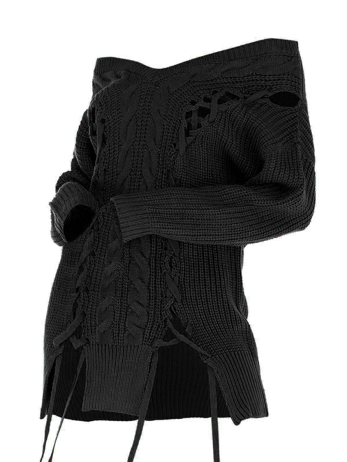 V Neck Lace Up Cable Knit Sweater - BLACK M
