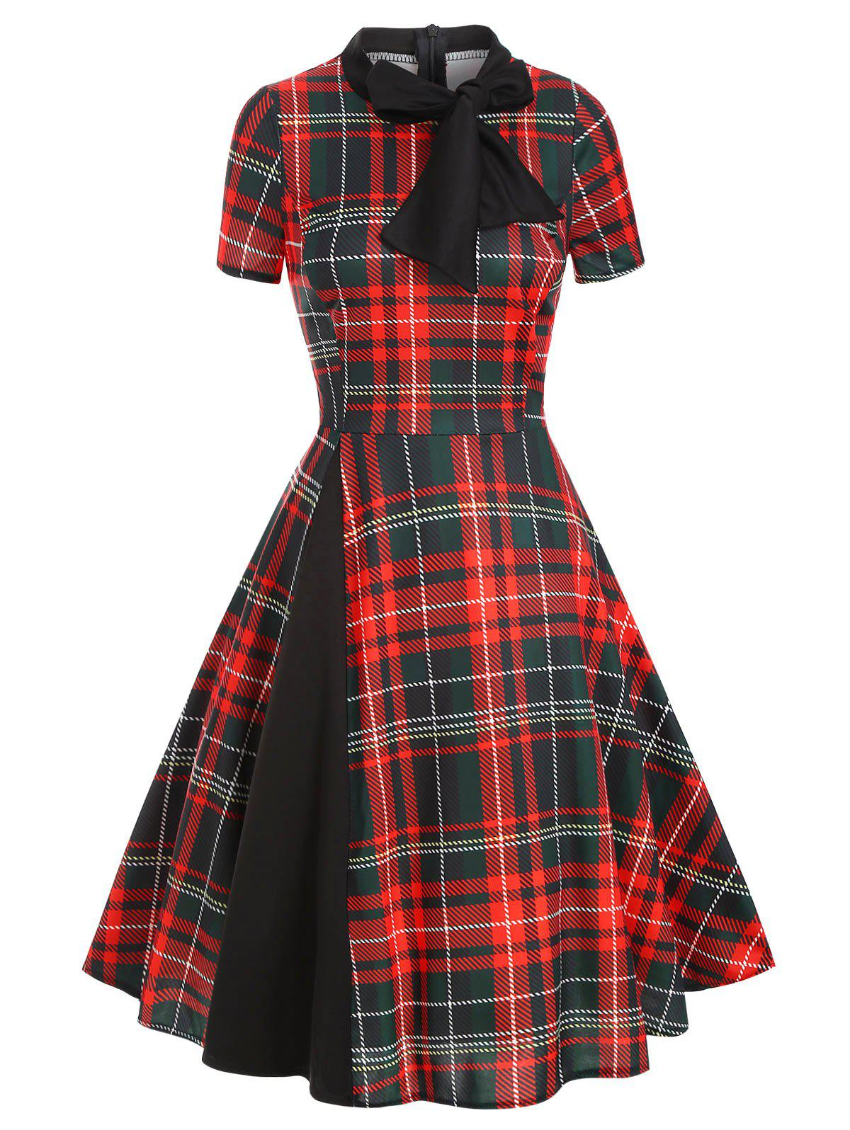 Plaid Bow Tie Vintage Midi Dress - RED 2XL