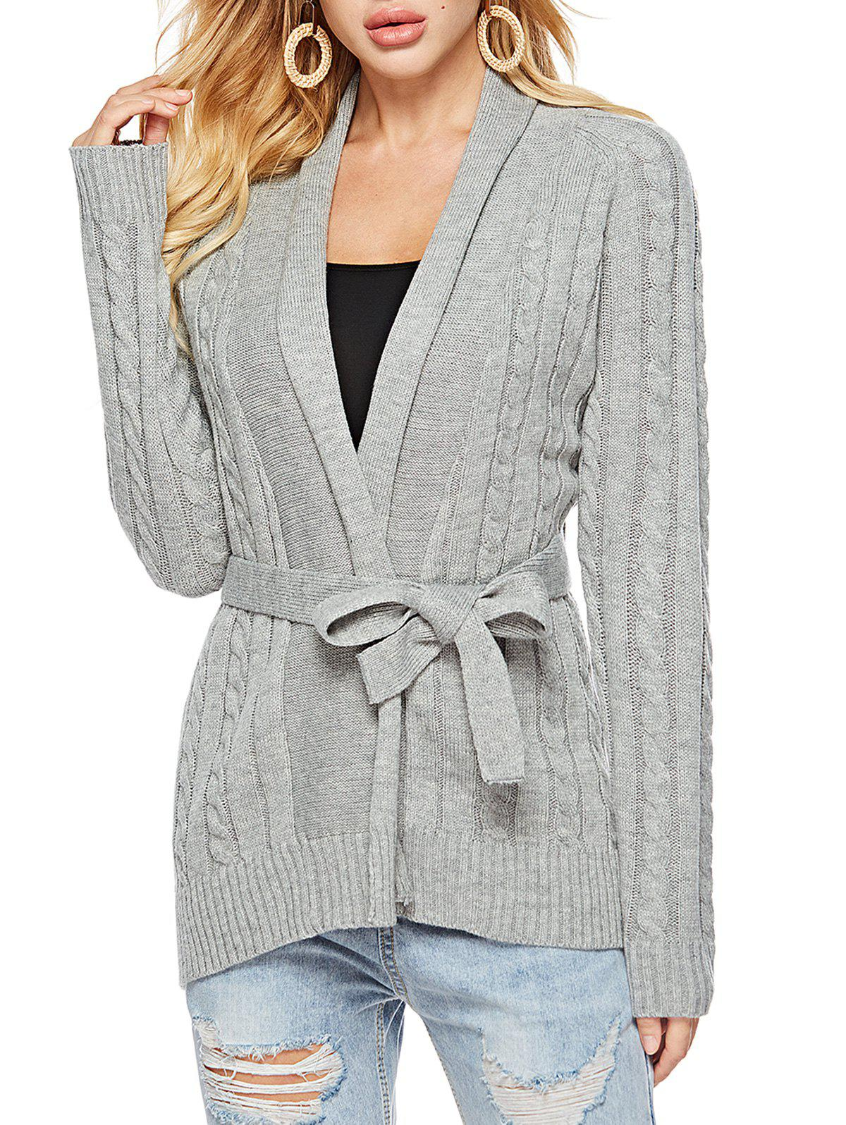 Shawl Collar Belted Cable Knit Cardigan - GRAY S