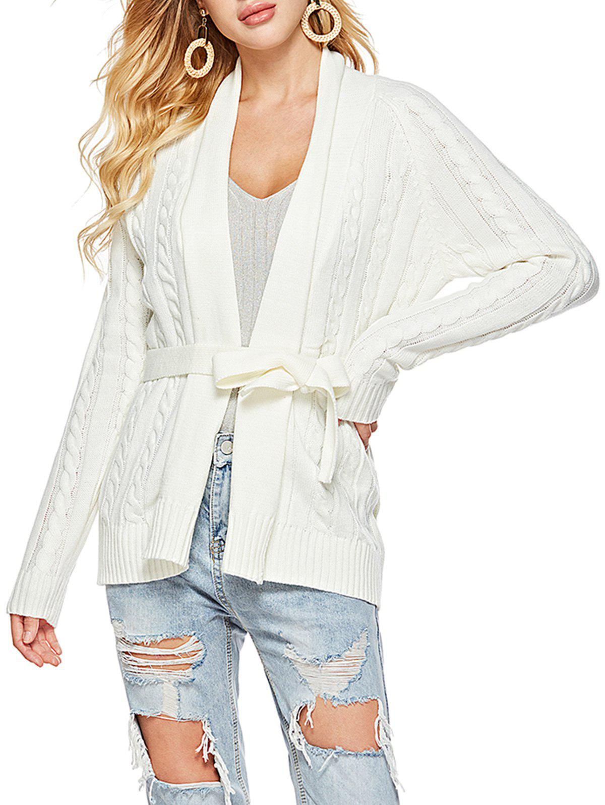 Shawl Collar Belted Cable Knit Cardigan - WHITE L