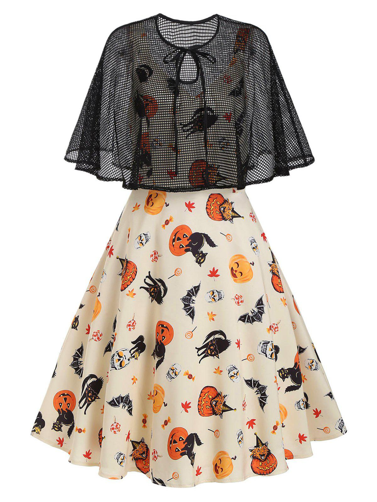 Halloween Pumpkin Cat Skull Print Dress with Fishnet Cape - LIGHT COFFEE 2XL