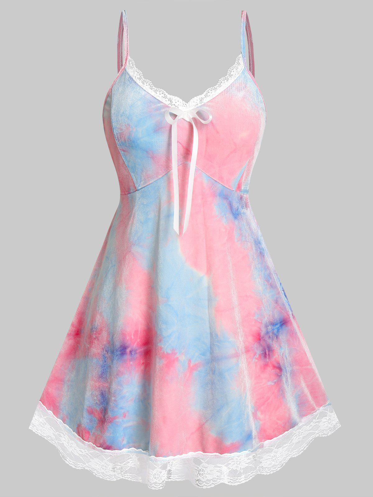 Plus Size Tie Dye Velvet Lace Hem Cami Dress Set - PINK 2X