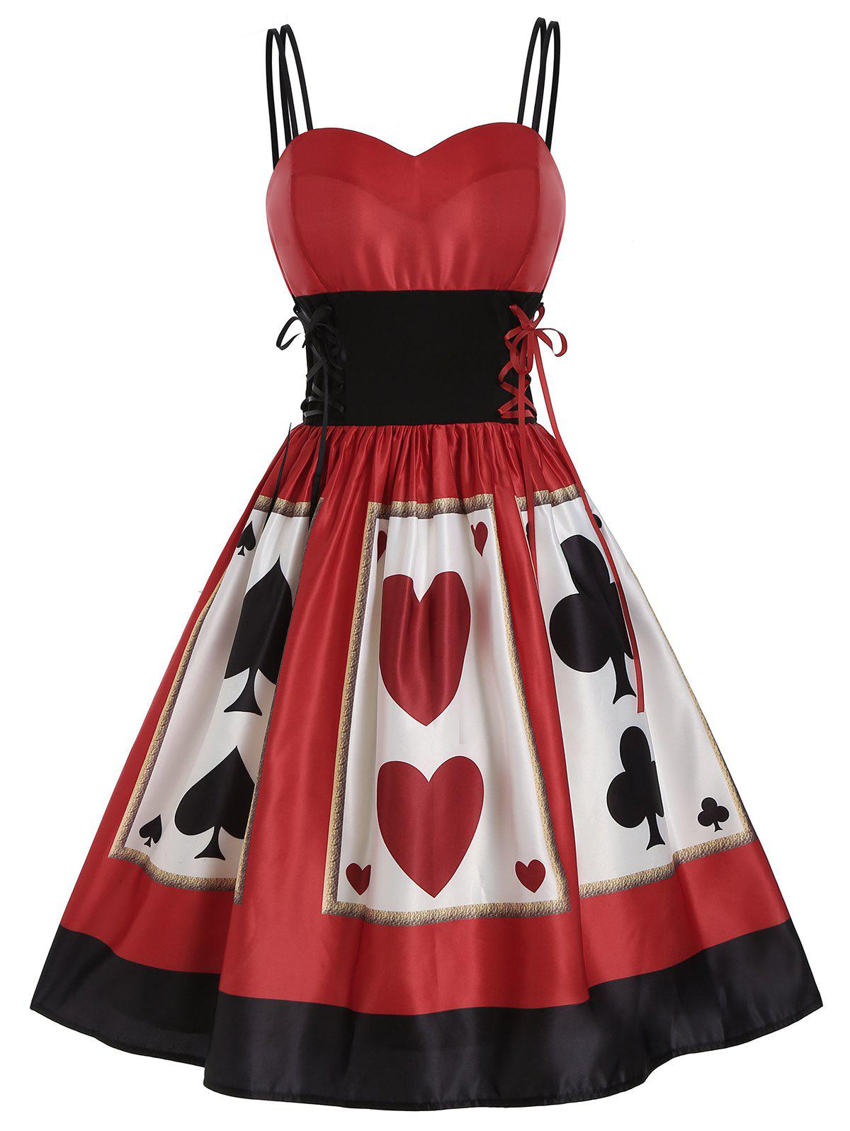 Playing Card Print Lace Up Dual Straps Dress - RED S