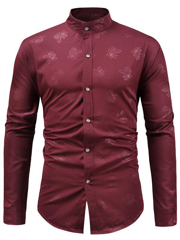 Flower Jacquard Button Up Shirt - RED WINE XL