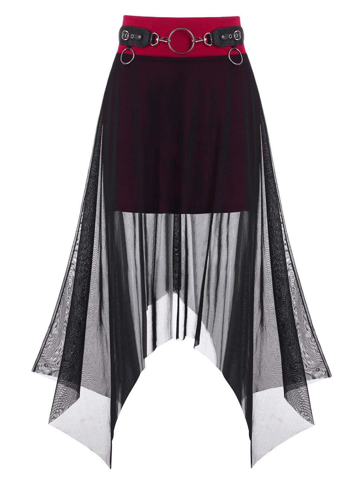 Gothic Mesh Overlay O Ring Handkerchief Skirt - RED WINE L