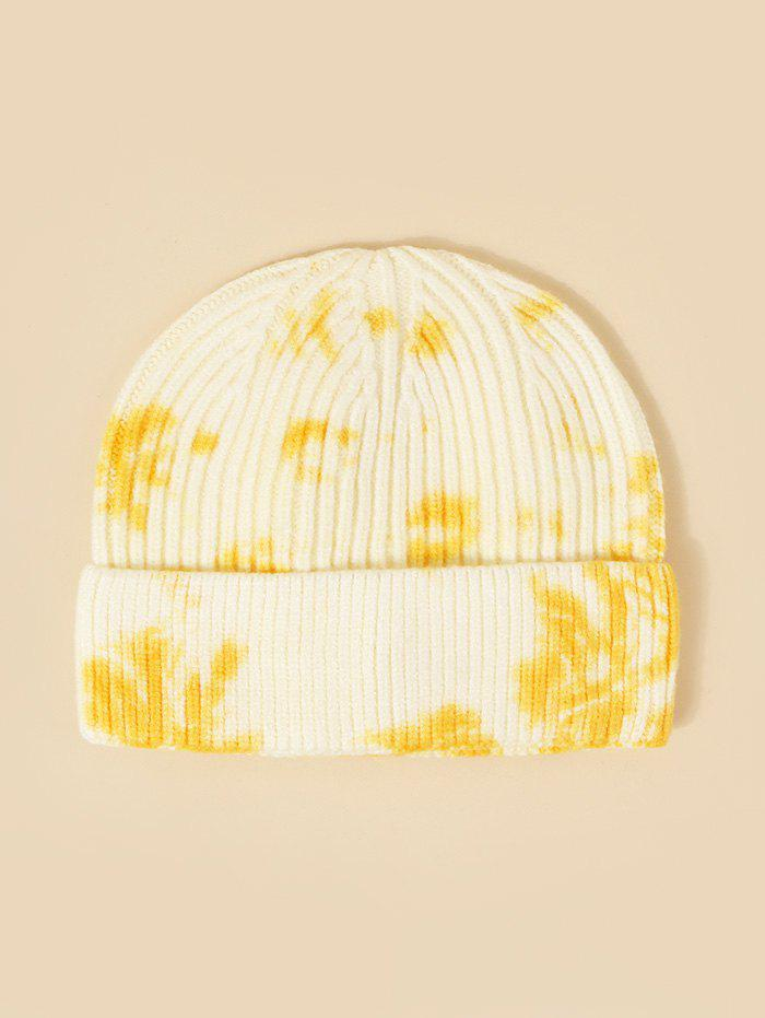 Tie Dye Ribbed Turn Up Edge Knitted Hat - YELLOW