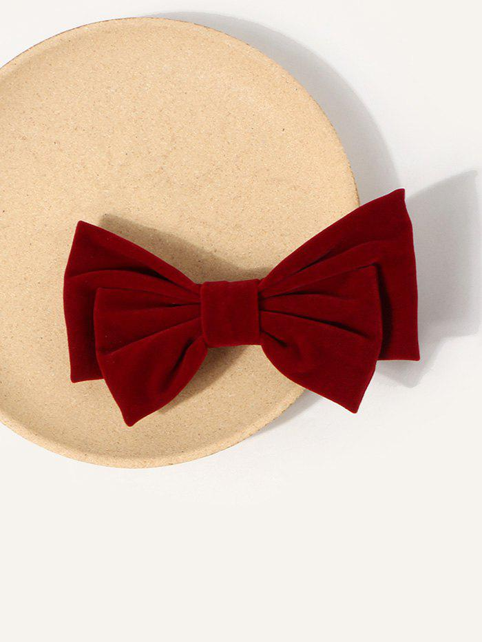 Retro Bowknot Shape Velour Barrette - LAVA RED