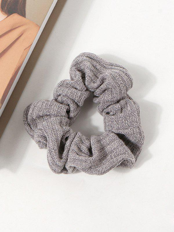 Solid Knitted Ribbed Fabric Scrunchie - GRAY