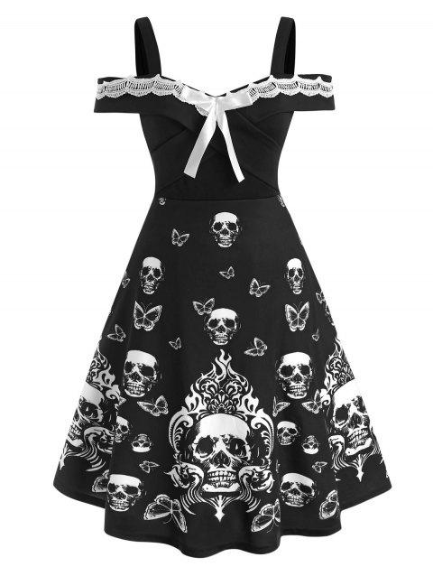 Plus Size Contrast Lace Skull Print Halloween Dress