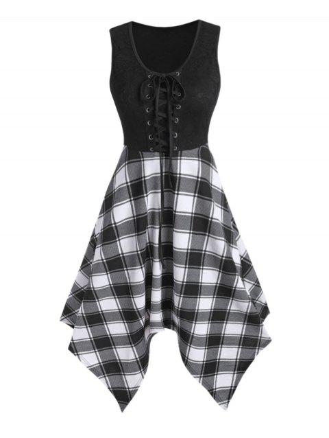 Lace Panel Checked Sleeveless Asymmetrical Dress