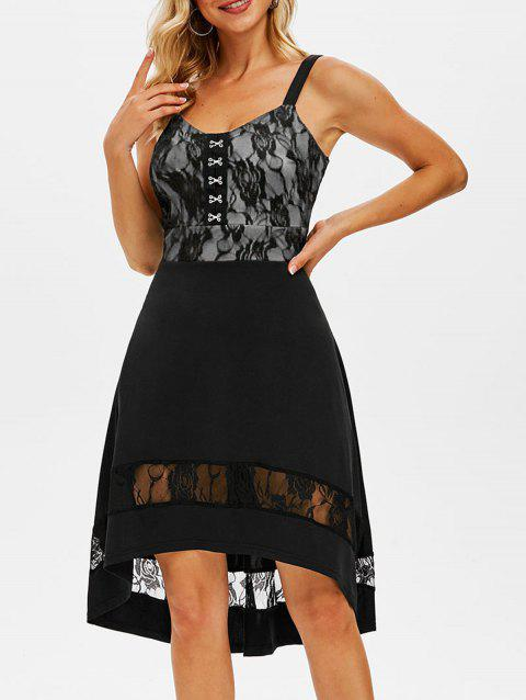 Lace Panel Hook and Eye High Low Dress