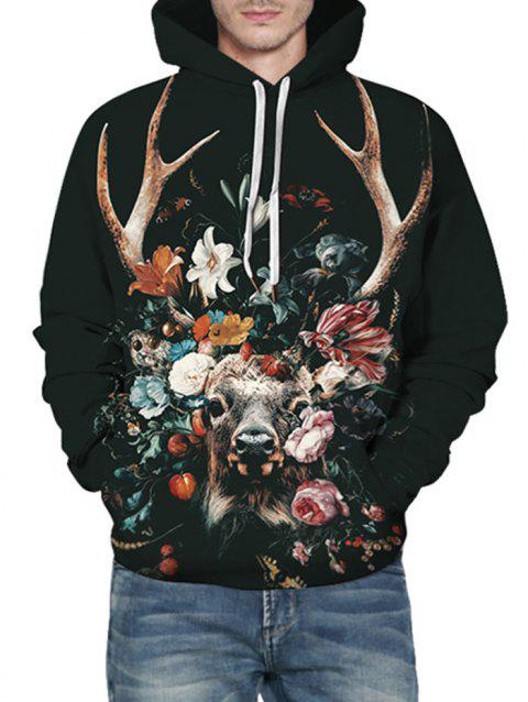 Floral Cattle Graphic Front Pocket Drawstring Hoodie