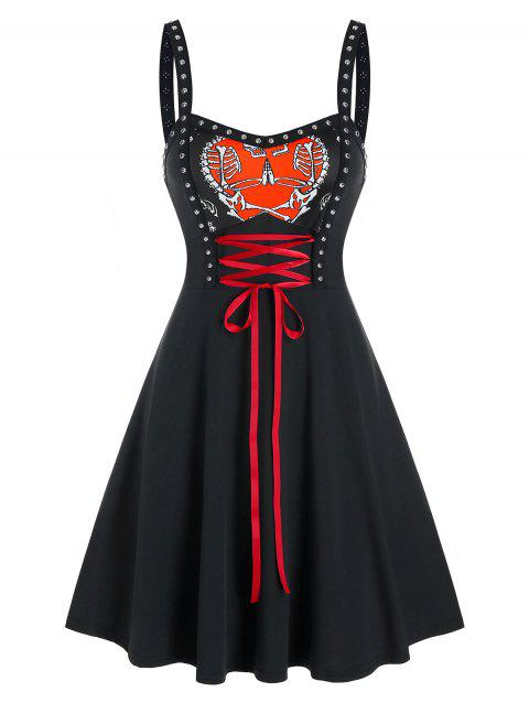 Gothic Heart Print Lace Up Rivet Dress