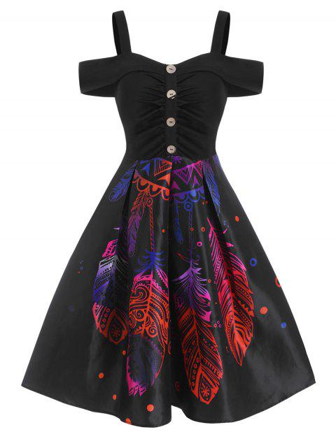 Feather Pattern Ruched Cold Shoulder Flare Dress