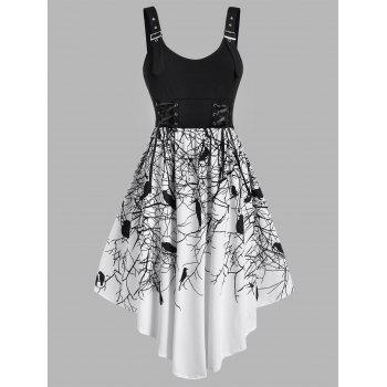Plus Size Buckled Lace-up Branch Crow Print Hallowmas Asymmetrical Dress
