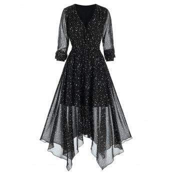 Stars Print Handkerchief Chiffon Dress