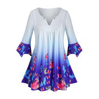 Plus Size Butterfly Ombre V Notch Hanky Cuff Tee