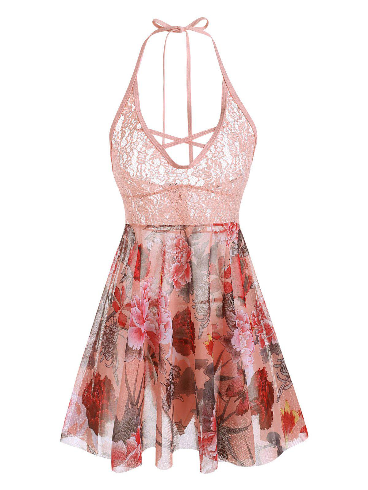 Plus Size Halter Lace Insert Floral Print Babydoll Set - LIGHT PINK 5X