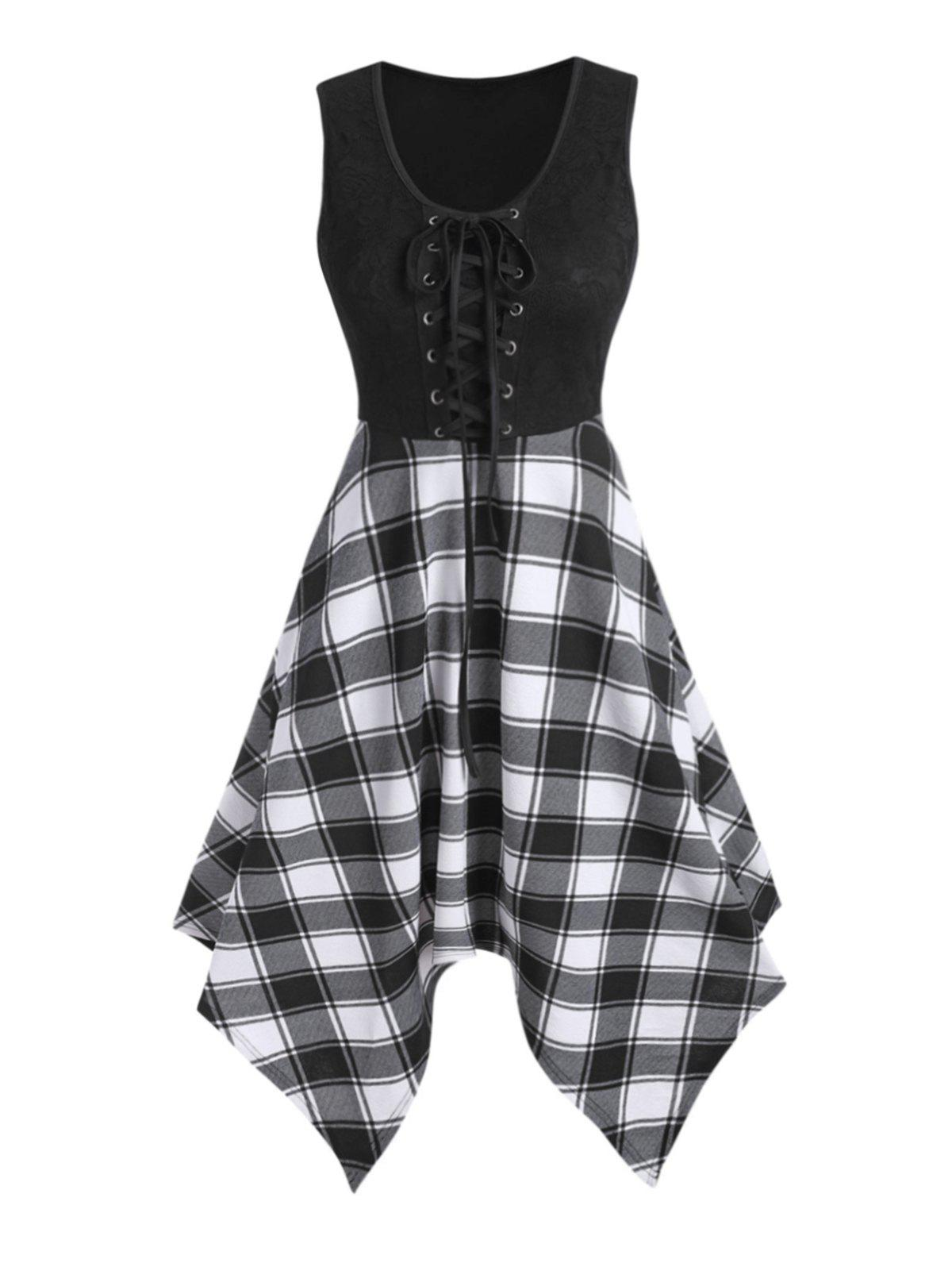 Lace Panel Checked Sleeveless Asymmetrical Dress - BLACK 3XL
