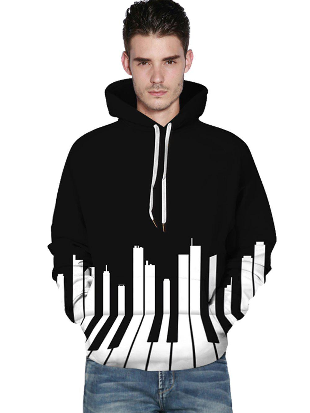 3D Piano Print Kangaroo Pocket Hoodie - BLACK XL